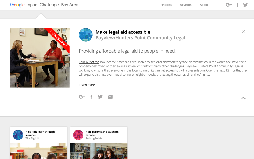 Project Spotlight: Bayview Legal won $500,000 from the Google Impact Challenge